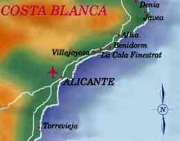 Holiday resorts of the Spanish Costa Blanca region around Benidorm - showing Altea Javea Denia La Cala Finestrat Villajoyosa and Torrevieja Moraira