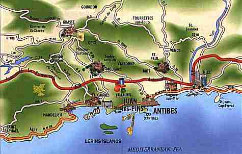 location of Antibes and Juan les Pins next to Cannes and Nice Airport
