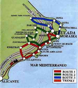 Map of Alicante region showing route from airport to Moraira through the Benidorm area